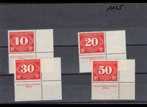 GG: MiNr. Z1-4 postfrisch, **, Eckrand E4, Staatsdruckerei Wien