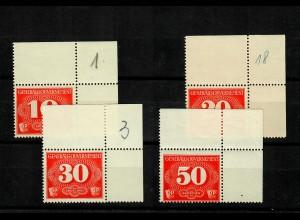 GG: MiNr. Z1-4 postfrisch, **, Eckrand E2
