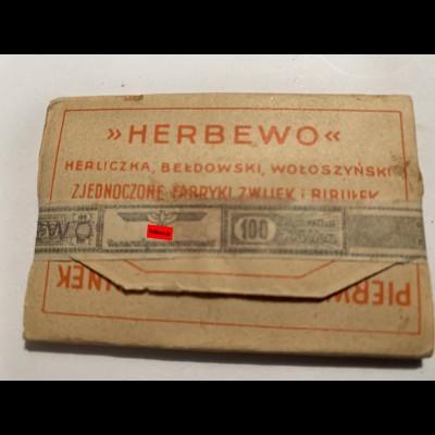 GG: Herbewo Pierwszorzedny gatunek, Zigarettenpapier mit Steuerbanderole-SELTEN