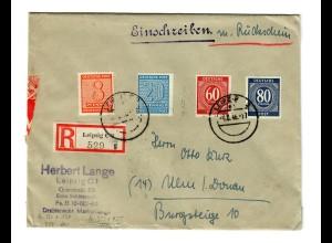 Einschreiben mit Rückschein Leipzig 1946 nach Ulm