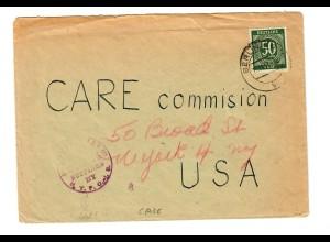 Brief aus Berlin nach USA - NY - mit Censur: Care Commision 1947