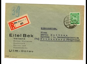 Einschreiben Ulm (Damen-/Herrenwäsche, Betten) nach Schneeberg/Erzgebirg 1946/47