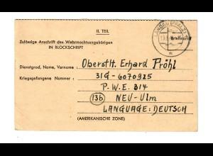 Kgf: PoW: Landau nach Neu Ulm an Oberstleutnant