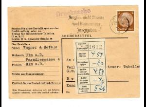 Bücherzettel Ulm nach Berlin 1930