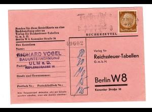 Bücherzettel Ulm nach Berlin 1930: Reichssteuer-Tabellen 1939