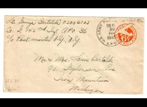 US Army 22.6.1945 to Michigan A.P.O.
