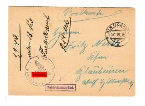 Postkarte Ulm 1940, Finanzamt nach Blaubeuren