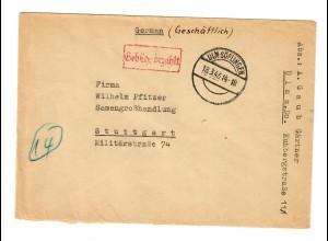 Ulm Söfingen 1946: Gebühr bezahlt Stempel Gärtner: Stuttgart - Samengroßhandlung