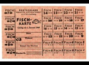 Lebensmittelmarke Januar 1949: LEA Württemberg: FISCH