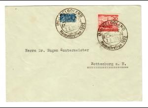 Helgoland: Sonderstempel Heimattreffen 1952 nach Rottenburg