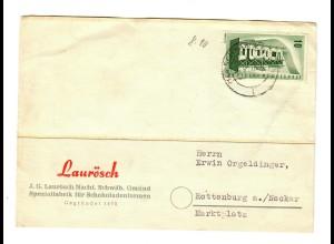 Postkarte Schokoladenformen Schwäbisch Gmünd nach Rottenburg/N 1956
