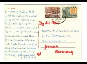 Postkarte Samarang 1973 nach Rottenburg/N