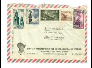 Luftpost Brief Spanien - Priesterwerk für Lateinamerika nach Rottenburg/N