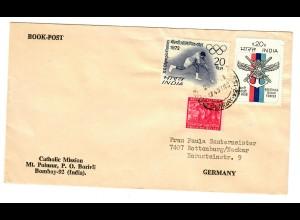 India: Book post Catholic Mission to Rottenburg/N 1972