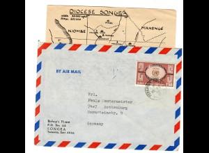 Tanzania Sonea: Bishop's House 1970 mit Übersicht Missionen der Diocese Songea