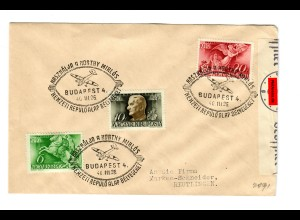 Ungarn: Budapest 26.III.1940 nach Reutlingen - Flugzeug, Zensur