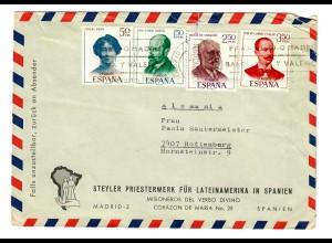 Spanien: Brief Priesterwerk für Lateinamerika in Spanien 1970