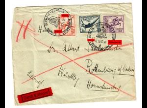 Eilboten Brief: Olympia Stadion nach Rottenburg/N