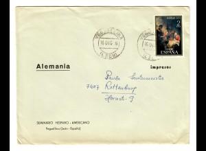 Brief Veguellina nach Rottenburg/N, Seminario, Hispano-Americano