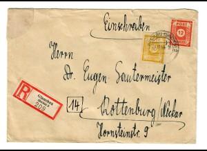 Einschreiben Glauchau 1945 nach Rottenburg/N