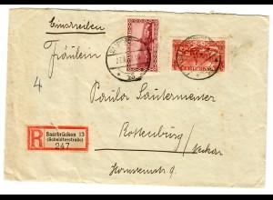 Einschreiben Saarbrücken 1932 nach Rottenburg