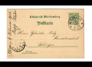 Ganzsache 1902 von Ulm nach Tübingen - Kunstanstalt