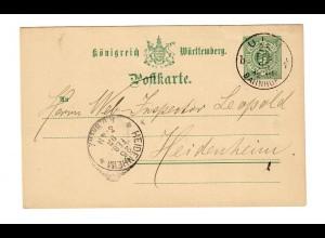Ganzsache 1893 von Ulm/Bahnhof nach Heidenheim