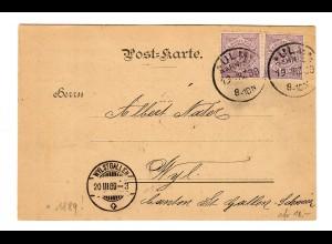 Postkarte Ulm 1889 nach Wyl St. Gallen/Schweiz