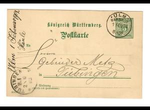 Ganzsache Ulm 1902 nach Tübingen: Gebrüder Metz: Ansichtskartenverlag
