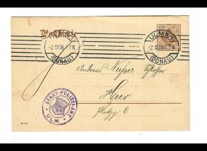 Ganzsache Ulm 1908: Polizei Amt - Niederlassungsverhandlung