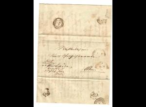 Brief 1864 fahrendes Postamt nach Ulm