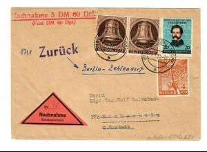 Nachnahme Brief Berlin nach Elchesheim und zurück