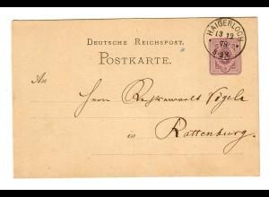Ganzsache Haigerloch 1878 nach Rottenburg