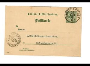 Ganzsache Stuttgart 1902 an Conditor in Rottenburg/N