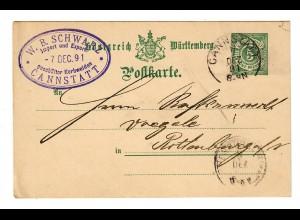 Ganzsache Cannstatt, Korbweiden nach Rottenburg/N, 1891