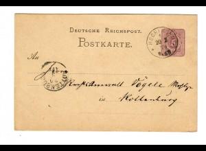 Ganzsache Hechingen nach Rottenburg/N 1879