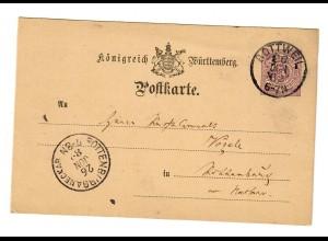 Ganzsache Rottweil 1882 nach Rottenburg/N