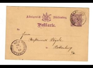 Ganzsache 1886 von Stuttgart nach Rottenburg/N