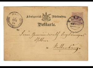 Ganzsache 1880 von Mengen nach Rotenburg/N