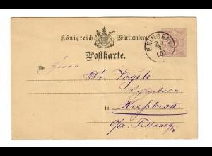 Ganzsache 1881 von Eningen nach Tettnang/Kressbronn