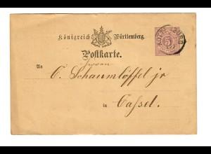 Ganzsache 1876 vo Rottenburg/N nach Kassel