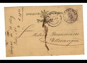 Ganzsache 1880 von Stuttgart nach Ellwangen