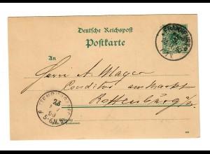 Ganzsache 1890 Frankfurt nach Rottenburg/N - Konditor