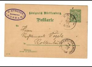 Ganzsache Horb 1893 nach Rottenburg/N