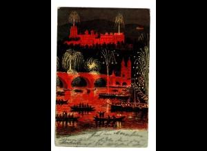 Ansichtskarte Heidelberg mit Feuerwerk 1899 nach Rottenburg/N