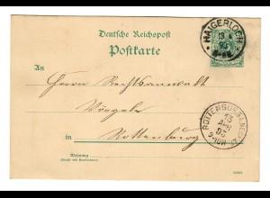 Ganzsache Haigerloch 1893 nach Rottenburg/N