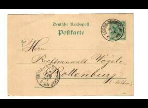 Ganzsache Leipzig-Reudnitz 1894 nach Rottenburg/N