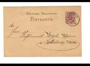 Ganzsache Laasphe 1878 nach Rottenburg/N
