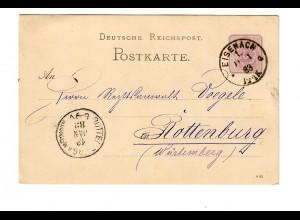 Ganzsache Eisenach 1883 nach Rottenburg/N