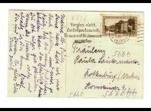 Neue-Jahr Karte 1929, Saarbrücken Bhf nach Rottenburg/N